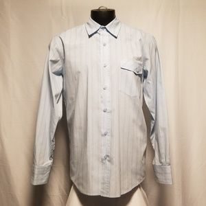 Anchor blue long sleeve casual striped shirt large